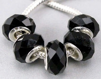 Wholesale 50 European Style Faceted Black Crystal Glass Beads Fit Charm Bracelet