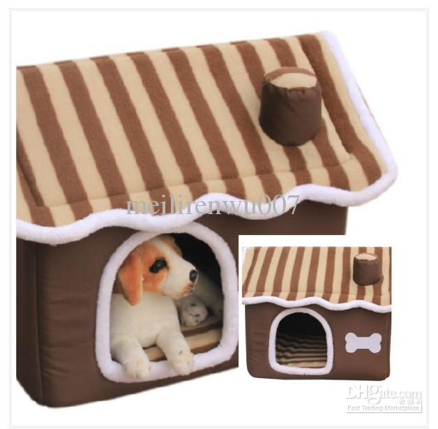 Pet dog cat house soft warm plush home indoor mat cushion for Soft indoor dog house large
