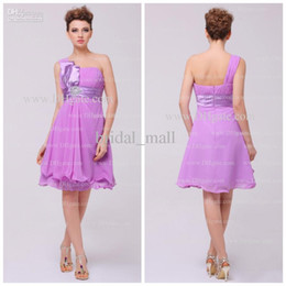 Wholesale In stock ruched one shoulder lovely tie bow Light Purple Cocktail Dresses Prom Pageant Dresses AG147