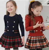 2013 Korean Girls Plaid Cotton Long Sleeve Princess Dress Ch...