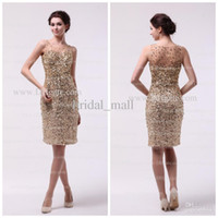 Wholesale Off the shoulder Knee length Sexy gold Prom dresses Sequence beaded bodice Formal dress Pageant JA10