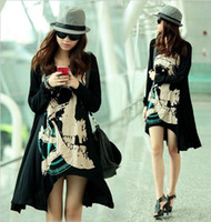 Wholesale Fashion Women s girl Loose plus size skull long sleeved T shirt X7935