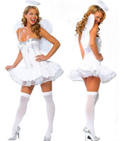 Women adult fairy wings costume - Sexy Cosplay Adult Costumes For Women Maid Fairy Angel Costume White Dress Wings G string Outfit O38073