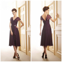 Wholesale Best selling V neck A line Tea Lenght Chiffon Open back Cap sleeves Mother of the bride dresses