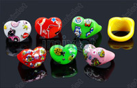 Wholesale New Fashion Resin Heart Shape Cartoon Lucite Kids Children Child Rings Mix Colors KR15