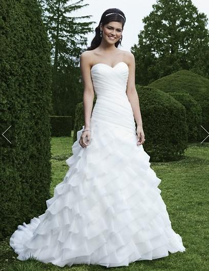 Discount sexy drop waist ruffle ball gown organza layers for Sweetheart neckline drop waist wedding dress
