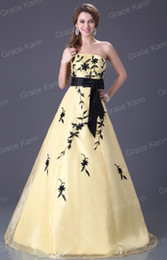 Wholesale Grace Karin Black and Yellow Organza Ball Gown Prom Quinceanera Dress CL2520