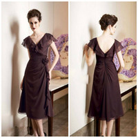 Chiffon best black tea - Best selling V neck A line Tea Length Chiffon Open back Mother of the bride dresses Cocktail