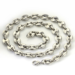 1pcs 10.5mm 82g cool style high-grade men jewelry silver Stainless steel coffee bean chain nckelace