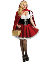 Wholesale Sexy Cosplay Fairy - Cosplay Fairy Tale Sexy Costumes For Women Adult Red Riding Hood Costume Velvet Mini Dress Uniforms Outfits O38328