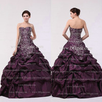 Wholesale Customer Made Burgundy Embroidery Sequins Ruffle Flower Hand Make Taffeta Quinceanera Dress QD045