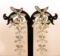 Wholesale 2013 Fashion Bohemia Gold Plated Rhinestone Crystal Long Flower Ear Stud Earrings Hot Selling