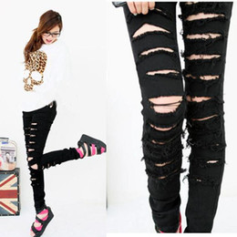 Wholesale Black Punk Rock Women Ripped Skinny s Jeans s Trousers WF