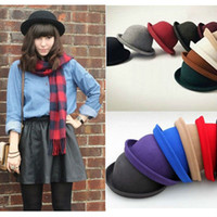 Wholesale Vintage Style New Women s Men s Roll Brim Bowler Derby Hats Colors