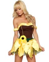 Commercio all'ingrosso costumi del personaggio mascotte dei cartoni animati per i costumi sexy delle donne delle fate per le donne Serventi domestica sexy Girasole costume abito da O38315