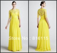 2017 Vestido de noche de Monique Lhuillier de la manga del cordón amarillo elegante con clase elegante caliente de la venta