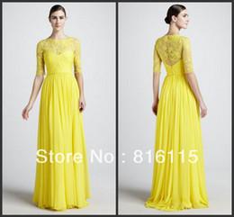 Descuento vestido de noche monique 2017 Vestido de noche de Monique Lhuillier de la manga del cordón amarillo elegante con clase elegante caliente de la venta