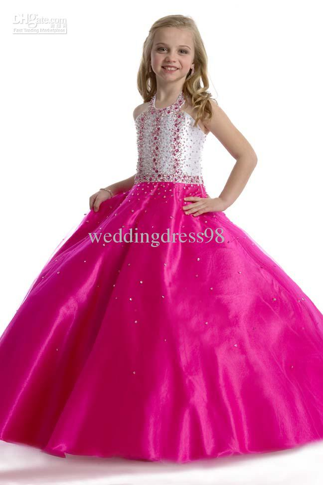 Ball Gown White And Hot Pink Halter Beaded Bodice Organza Flower ...