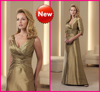 Reference Images V-Neck Taffeta Taffeta Sexy V-Neck Olive Mother of the Bride Dresses Shiny Beaded Sequins With Detachable Jacket