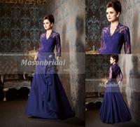 Wholesale Elegant A Line V Neck Sleeve Floor Lenth Taffeta Purple Lace Mother of The Bride Dresses