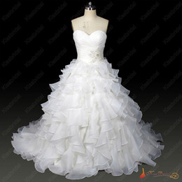 Wholesale High Quality Clean Stock Bridal Dress Ball Gown Sweetheart Beaded Organza In Stock Wedding Dresses