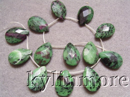 8SE07399a 20x30mm Ruby Zoisite Faceted Teardrop Beads