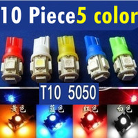 Wholesale 10 pieces T10 SMD Bulbs Side Car LED Light W5W Wedge Xenon V White red blue