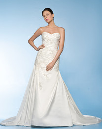 Wholesale Wow Sexy Sweetheart Wedding Dresses Gown White Taffeta Applique Bridal Dress Prom Gown RL101