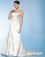 Strapless Taffeta Chapel Wow 2013 Elegant Strapless Wedding Dresses Gown Ivory Taffeta Applique Bridal Dress Prom Gown RL105