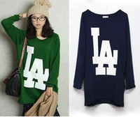 Wholesale High Quality LA plus size women pullover loose hoodies sweatshirts casual t shirt hoody top free sh