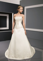Illusion A-Line Beach Wow!!! 2013 Sexy Strapless Wedding Dresses Gown Satin Appliques A Line Bridal Dress Prom Gowns RL127