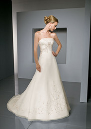 Wholesale Wow Sexy Strapless Wedding Dresses Gown Chiffon Embroidery A Line Bridal Dress Prom Gowns RL128