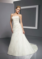 Cheap Wow 2013 Sexy Strapless Wedding Dresses Gown Taffeta Appliques A Line Bridal Dress Prom Gowns RL129
