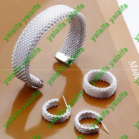 Wholesale Fashion Sterling silver plated bracelet earring ring mesh shape jewelry set