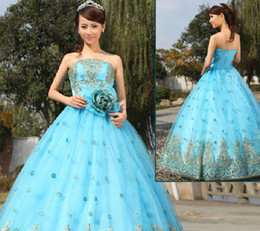 Wholesale Quinceanera Dresses Ball Gown floor length Strapless flower beads embroidery prom dresses M3357