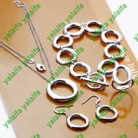 Wholesale New Style Classic silver plated bracelet necklace earring ring quot O quot Circle chain set