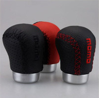 Wholesale Aluminum real leather Manual Gear Shift Knobs stick shift knob Stitch craft black red stitch