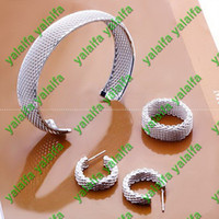 Wholesale 925 Sterling silver plated bracelet earring ring mesh style jewelry set ujj