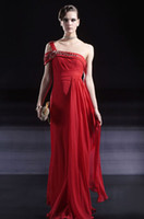 Sheath/Column Sexy Appliqué Wow!!! 2013 One Shoulder Chiffon Party Dresses Gown Floor-Length Sheath Red Prom Evening Dress RL182