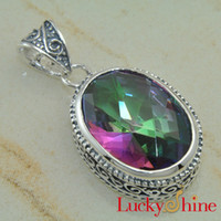 Wholesale Fashion silver jewelery mystic topaz gemstone pendant accessories jewelry LP0130