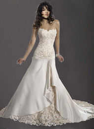 Wholesale inexpensive sexy strapless floor length chapel train lace satin wedding dress MG490