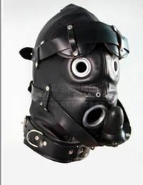 Wholesale Newest Soft leather bondage Hood Mask eyepatch SILICONE dildo Mouth Plug Headgear Sex product toys
