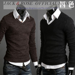 Wholesale New Arrival Men s Long Sleeve V neck T shirt Pullover T shirts tee mix orders colour M US XS L US