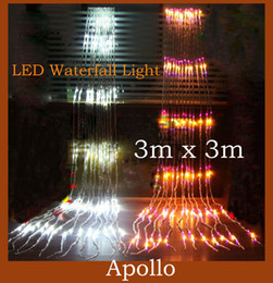 Wholesale 336 Led Waterfall Curtain Light m x3m Christmas Wedding Party Water Flow Holiday Night String Light