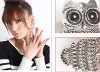 Wholesale Hot Sale Fashion Vintage Black Eye Owl Adjustable Rings