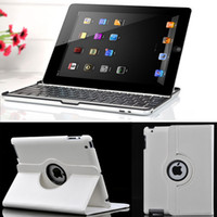 Wholesale Black Wireless Bluetooth Keyboard White Leather Stand Case For The New iPad rd iPad2