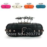 Cheap 2012 women's fashion handbag rings skull PU rhinestone evening bag day designer clutch purse ,Free S