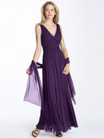 Cheap Wow 2013 Sexy V Neck Purple Chiffon Party Dresses Gowns Ankle-length A Line Prom Evening Dress RL277