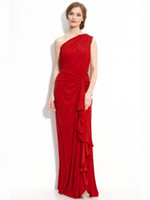 Cheap Wow 2013 Allured One Shoulder Royal Red Chiffon Party Dresses Gowns Sheath Prom Evening Dress RL279