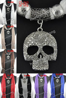 Wholesale pendant scarf with jewelry skull charms scarves necklace beads jewellery Mixed SJ